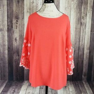 PerSeption Concept coral embroidered blouse NWT